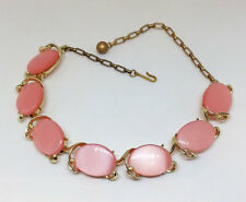 Vintage Pink Thermoset Choker Necklace, Gold Tone Jewelry