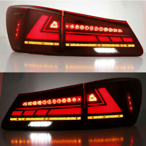 LED Tail Lights For Lexus IS250 IS350 ISF 2006-2013 Red Lamps Start UP Animation