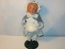 Byers Choice 1995 Blonde Victorian Girl with Fine Blue Cape and Lace Trimmed Cap