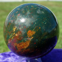 Original BLOOD STONE Crystal Agate Healing Sphere Ball New Old Stock
