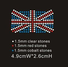 Union Jack Diamante Rhinestone Iron On Transfer XRSTN036