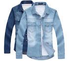 Stylish Men's Shirt Cowboy Clothing Spring/Summer Single-breasted Denim Shirts
