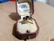 Old 9ct Gold And Garnet Trilogy Ring