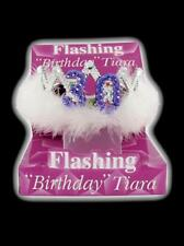 Flashing 30th Birthday Tiara Crown Women's Girls with Feathers and Marabou Trim