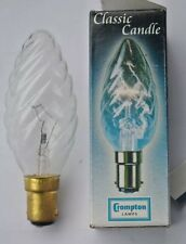 10 x Crompton Classic Candle 35mm SBC B15 Twisted Clear Bulbs. 60w