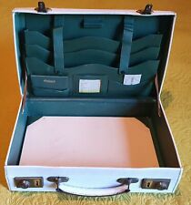 Vintage Travel White Leather Writing Case With Keys