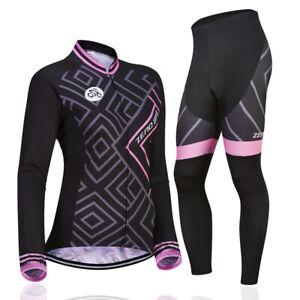 Women's Long Cycling Jersey Pants Set Bike Bicycle Sport Clothing Wear Suits