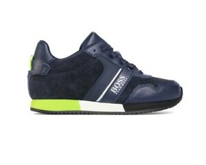 Sale Hugo Boss Junior J29225 849 Lace Up Boys Trainers Navy Kids Sneakers Shoes