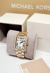 Michael Kors Emery Rectangular Crystal bezel Watch