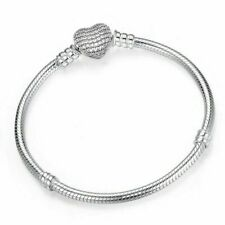 Authentic Silver Jewelry Chain Bracelet Heart Clasp Charm Snake Womens Fashion