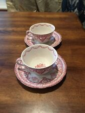 Set Of 2 Swinnertons KENT Staffordshire In PINK CUPS & SAUCERS Floral EC