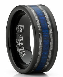 Black Tungsten Wedding Band Ring Gray Carbon Fiber and Blue Wood Inlay
