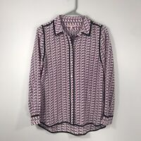 JUICY COUTURE SILK BLOUSE PURPLE LONG SLEEVE COLLARED BUTTON UP SIZE SMALL