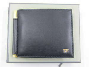 Tom Ford Horizontal Grained Leather T Line Money Clip Wallet Black Y0231T-LCL053