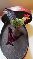 New! Fitz & Floyd Glass Rooster in Original Box w/ Ribbon Vintage 2003