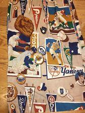 Vtg MLB Baseball Curtain Pair Yankees Phillies 70's Sears Red Sox Boston Dodgers