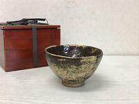 Y1776 CHAWAN Seto-ware signed box Japanese bowl pottery Japan tea ceremony