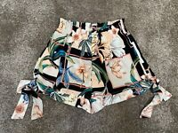 River Island Ladies Womens Shorts Summer Size 8 Black Peach Floral Smart 10