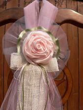 Set of 10. Vintage Wedding decor, Chair bow, Pew Bows, Aisle pink satin, burlap