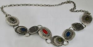 Chico's Medallion Chain Belt Pewter Silver Metallic Colored Stone Look