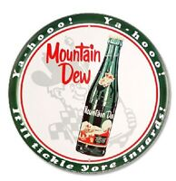 MOUNTAIN DEW ROUND TIN SIGN - SODA POP TICKLE METAL POSTER WALL ART