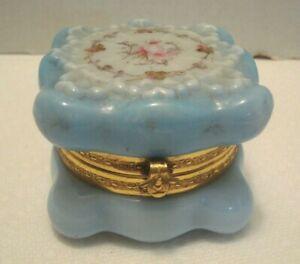 Antique C. F. Monroe Wave Crest Art Glass Dresser Box Rosebud Floral Wavecrest