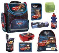 Kinder Schulranzen Set 9tlg. Federmappe Dose Flasche Disney Cars Auto Rennauto