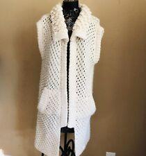 ABS Allen Schwartz Sweater Vest L Boho Chunky Knit Cardigan Wool Duster Ivory