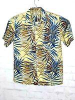ISLAND REPUBLIC Men Hawaiian ALOHA Camp  Shirt XL Floral Leaf Abstract