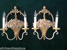 Vintage French Giltwood Tole Flower Basket Pair Wall Sconces Italy Italian