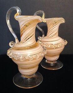 Vintage Hand Blown Pair White Peach Swirl Pitchers