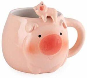 Cute Animals Novelty Ceramic Coffee Tea Mug w/ Spoon 14 oz (Pig)
