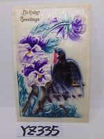 POSTCARD 1910'S BIRTHDAY GREETINGS BIRD & PURPLE FLOWERS RAISED GERMAN MADE VTG