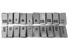 XXS XS S M L XL XXL 3XL 4XL Size Labels Woven Clothing Garment White Sizes Tags