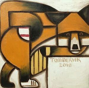 Fox Painting Baseball Art Abstract Sports Animal Geometric Wall Art Artwork