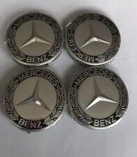 4x Mercedes Benz Alloy Wheel Centre Caps Set 75mm Black Hub Emblem Top Quality