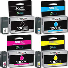 Lexmark 100XL Genuine Set Black Cyan Magenta Yellow INK Cartridges for S815 S816