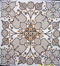 Counted cross stitch Blackwork kit by Derwentwater Garden of Happiness 16ct Aida