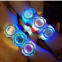 Fashion Women Wrist Watch Sport Waterproof LED Backlight Crystal Quartz Ladies L