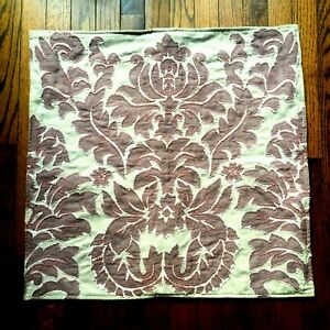 Set of 2 Pottery Barn Francesca Pillow Covers 24 x 24 Mauve Embroidered Damask