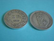 Silber-Münzen 1943 B Schweiz 1 x 2 Franken sihe Bild  Silver Coin Svizzera