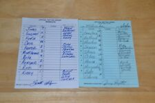 MLB 6/29/02 Minnesota Twins Milwaukee Brewers Ullger Royster Signed Lineup Cards