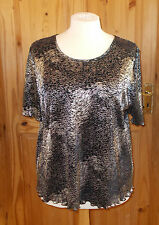 ROMAN black silver stretch crinkle short sleeve tunic top party L-XL 18-20 46