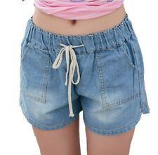 Solid Blue Denim Jeans Shorts For Women Plus Size Elastic Waist Cotton Shorts