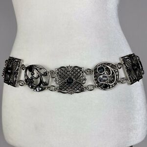 """Chico's Womens Jeweled Chain Belt 38"""" Faux Medallions Rhinestones Silver Tone"""