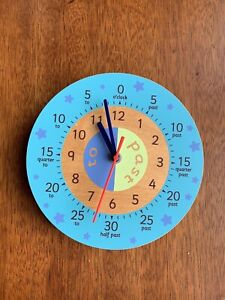 "Learning Teaching Children's Wooden Wall Clock 8"" 20cm"