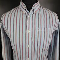Tommy Hilfiger Mens Casual Shirt LARGE Long Sleeve Blue Slim Fit Striped Cotton