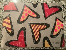 NEW ROMERO BRITTO HEARTS VINYL PLACEMAT EASY CLEAN
