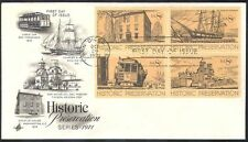 USA 1971 Cable Car/Rail/Sailing Ship/Transport/Trams/Buildings 4v blk FDC n40914