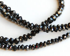 """AAA Top Quality Natural Black Diamond Faceted Rondelle Beads 7"""""""